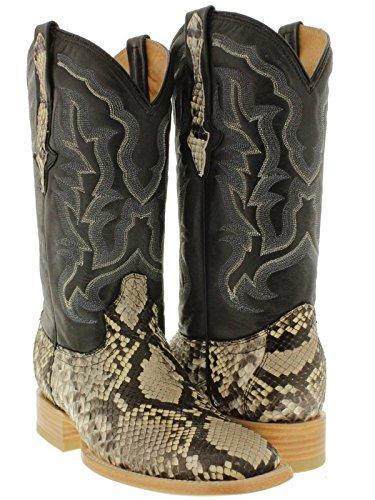 Cowboy Professional - Men's Natural Genuine Python Snake Skin Cowboy Boots Square 9 D(M) US