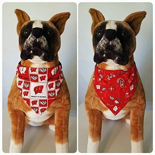 Reversible Bandana, Made With University of Wisconsin Fabric, Bucky Badger, Scarf, Dog, Cat, Pet, Slip On Over The Collar, (Does Not Tie) 2 in ()
