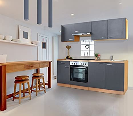 respekta Küche Küchenzeile Einbauküche 210 cm Buche Nachbildung GRAU CERAN  KB210BGEC