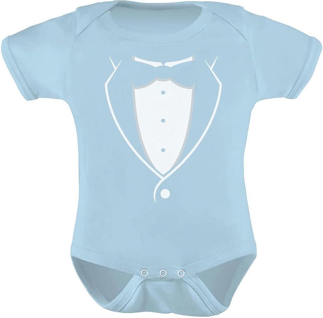 Baby Bodysuit Tuxedo Black Bow Tie Boy Outfit One Piece Funny Onesie