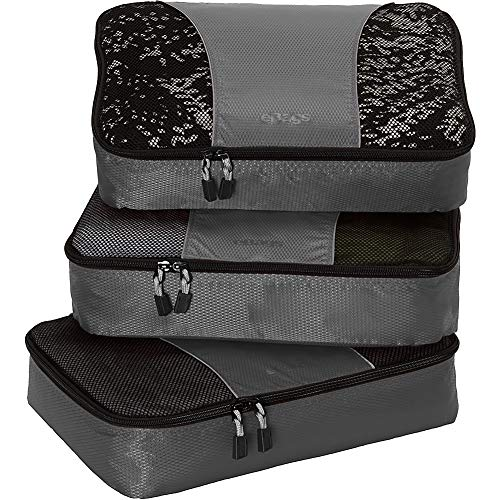 eBags Medium Classic Packing Cubes for Travel - 3pc Set - (Titanium)