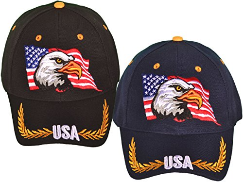Patriotic American Eagle and American Flag Baseball Cap USA 3D Embroidery
