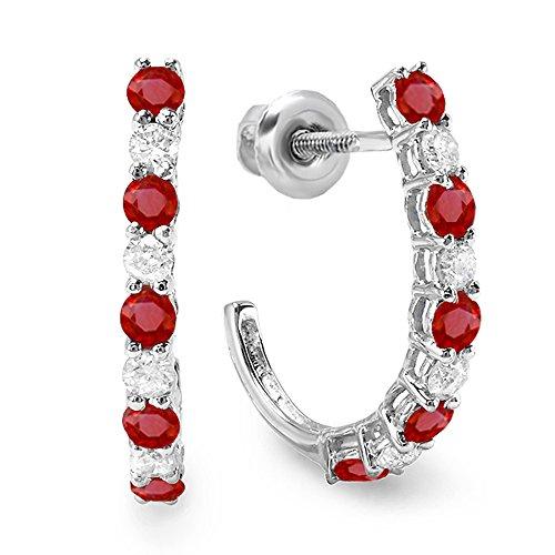 14K White Gold Round White Diamonds & Ruby Ladies Fancy J Shaped Hoop Earrings