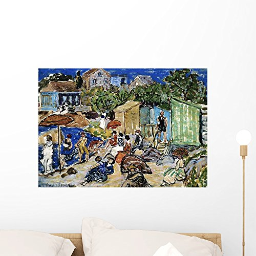 Prendergast Maurice Brazil (Wallmonkeys Painting of a Beach Scene Maurice Brazil Prendergast Wall Decal Peel and Stick Graphic WM156049 (24 in W x 17 in H))