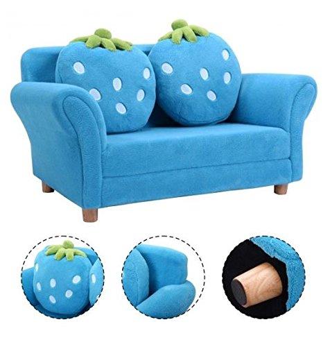 MD Group Kids Chair Sofa Armrest Blue Strawberry Coral Fleece Lighweight Living Room Furniture