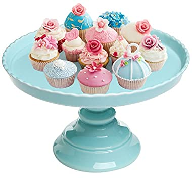 11.5  Round Blue Scalloped Rim Ceramic Cake & Dessert Pedestal Display Stand - MyGift