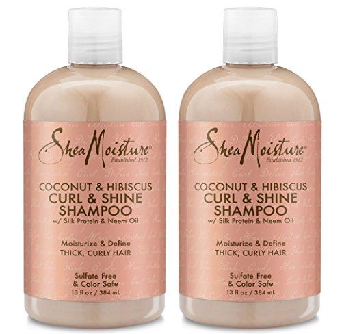 - Shea Moisture Coconut Hibiscus Curl & Shine Shampoo, 13 oz, Pack of 2