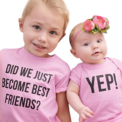 FEITONG Toddler Kids Newborn Infant Baby Girls Letter Sister Matching Clothes T shirt Tops / Jumpsuit Romper Outfits