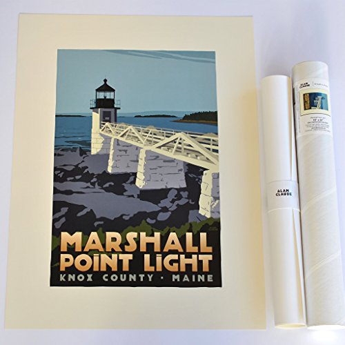 Marshall Point Light, Maine Print (18x24 Lighthouse Travel Poster, Wall Decor Art)