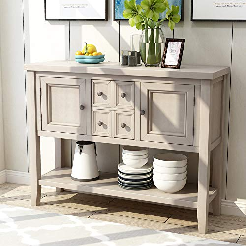 Romatlink Solid Wood Retro Style Sideboard Buffet Table with Locker and Kitchen Table, Rustic Console Table, Entrance Table, for Hallway Foyer Living Room Interior Furniture (Buffets And Furniture Sideboards)