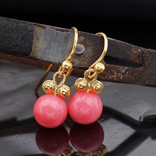 Handmade Dangle Red Coral Earrings 24 k Gold over 925 k Silver Design By Omer ()