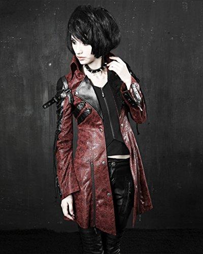 Punk Poison Rouge synth Rave Veste Cuir Zqdn7