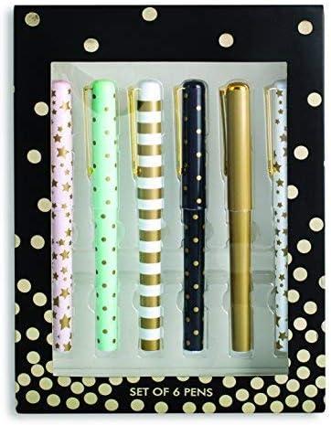 Tri-Coastal Design - Set de Papelería de 6 Bolígrafos de Tinta Negra de Diseño Individual En Caja de Regalo Para Mujer