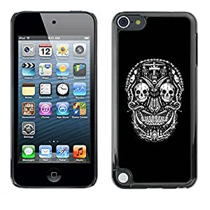A-type Colorful Printed Hard Protective Back Case Cover Shell Skin for Apple iPod Touch 5 ( Black Skull Cross Death Metal Rock )
