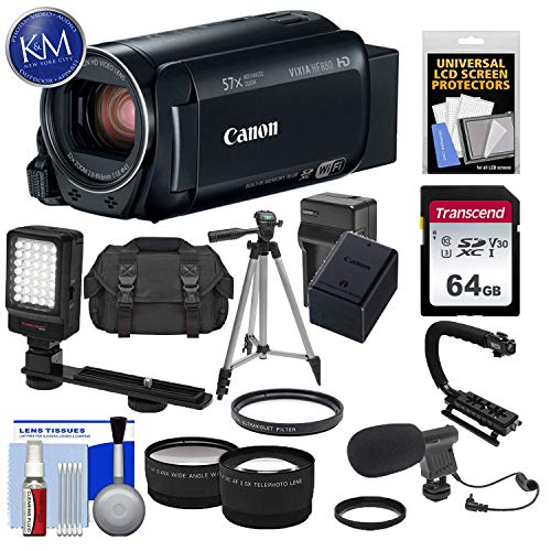 Canon Vixia HF R80 16GB Wi-Fi 1080p HD Video Camera Camcorder with 64GB Card + Battery & Charger + Case + Tripod + Stabilizer + LED + Mic + 2 Lens Kit