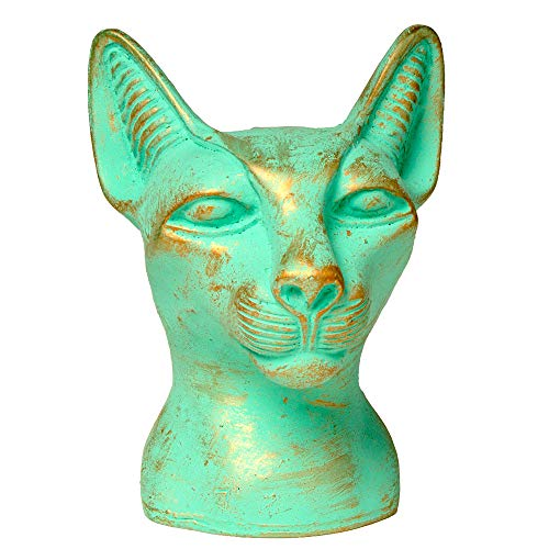 Discoveries Egyptian Imports Authentic Miniature Statue - Patina Finish - Bastet Cat Goddess Bust - 4