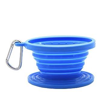 jss silicona plegable café filtro Cono, cafetera de émbolo de alimentos, perfecto para exteriores y libre de viaje con mosquetón talla única BlueA: ...