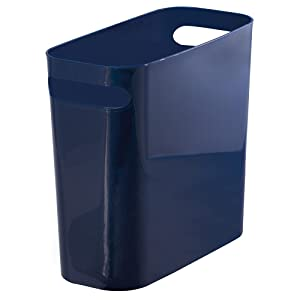 "mDesign Slim Plastic Rectangular Trash Can Wastebasket, Garbage Container Bin Carrying Handles Bathrooms, Kitchens, Home Offices, Dorms, Kids Rooms - 10"" high, Shatter-Resistant - Navy Blue"