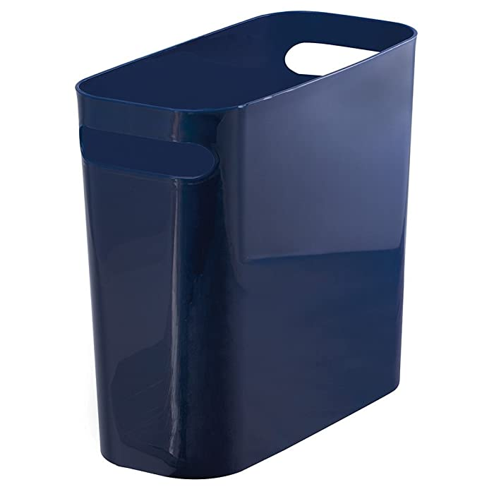 """mDesign Slim Plastic Rectangular Trash Can Wastebasket, Garbage Container Bin Carrying Handles Bathrooms, Kitchens, Home Offices, Dorms, Kids Rooms - 10"""" high, Shatter-Resistant - Navy Blue"""