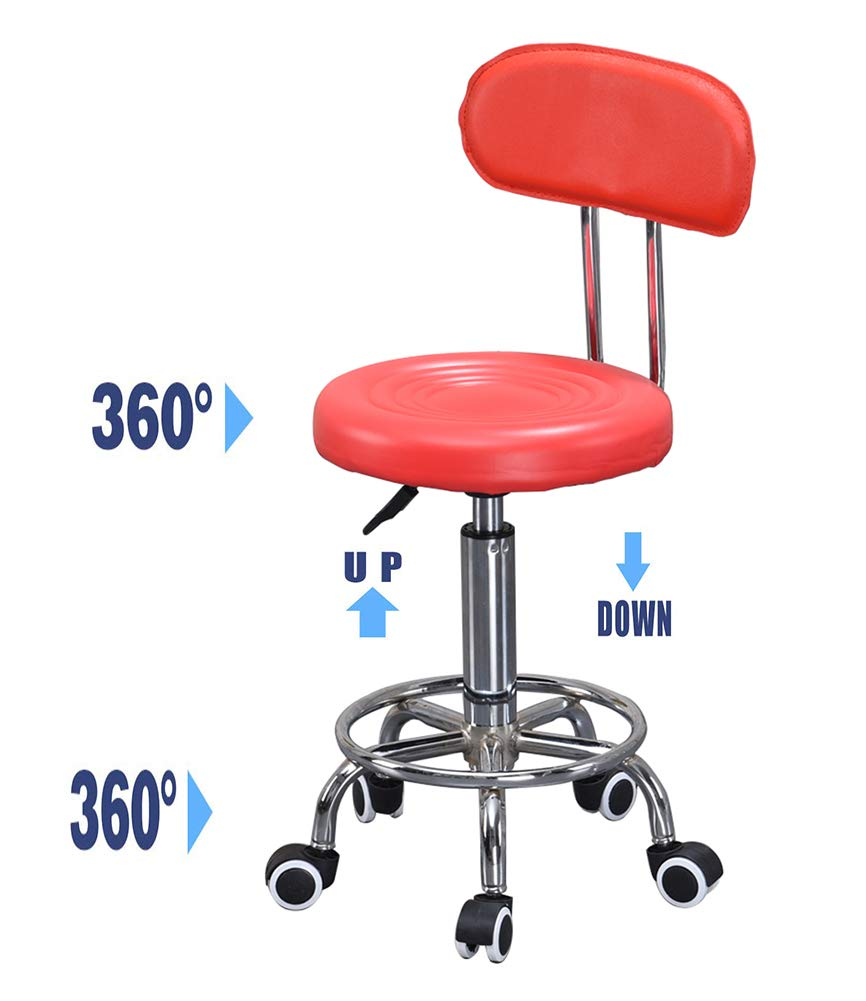 Bar Stools Chair Lift Rotate Stools, Beauty Salon Checkout Counter Front Desk Bar Stools Chair, 360° Swivel Ergonomic Bar Lifting Rotate Stools Chair-red by YANGYA