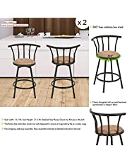 Barstools Round Seat Bar Chairs Industrial Style Swivel 30'' Height Bar Stool Cast Chic Bar Khaki Brown