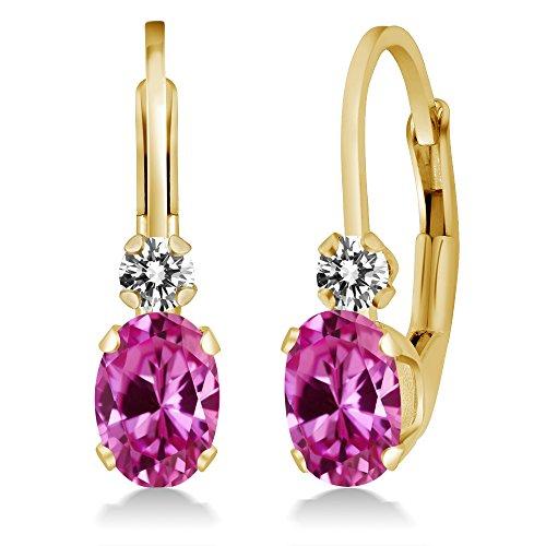Oval Pink Sapphire Earrings - 8