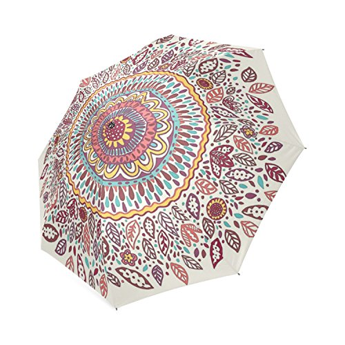 Custom Sunflower Medallion Compact Folding Travel Umbrella (Medallion Sunflower)