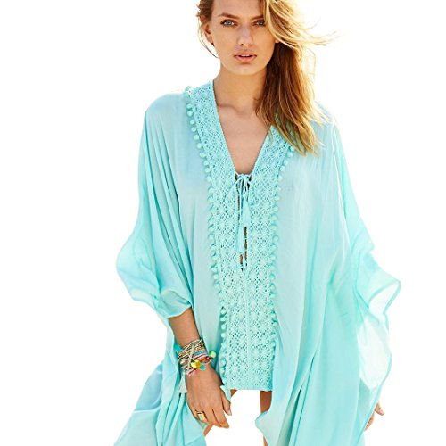 NFASHIONSO Women Fashion Loose Lace Trim Cotton Voile Beach Swimsuit Cover-up - Voile Cover