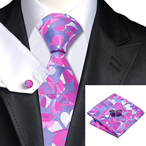 SN-1111 Purple Silver Blue Floral Tie Hanky Cufflinks Sets