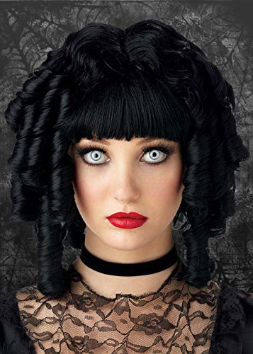 Womens Gothic Black Curly Ghost Doll Wig -