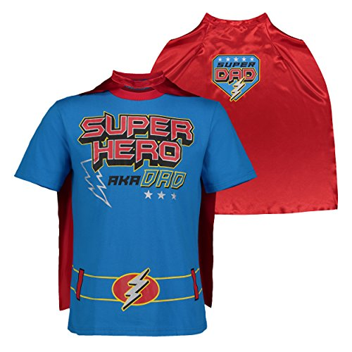 Funstuff Father's Day Super Hero Dad Mens' T-Shirt & Cape, Bue (X-Large) Blue