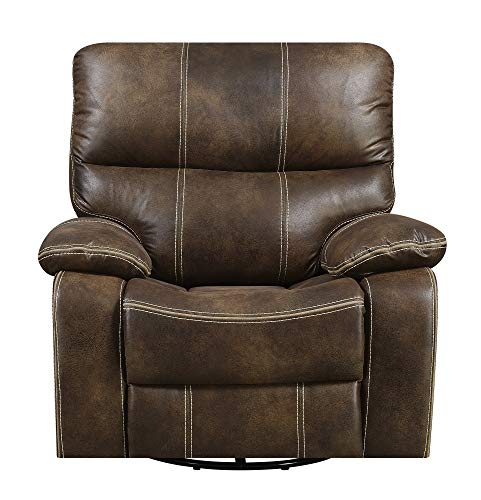 Emerald Home Furnishings Jessie James Chocolate Brown Faux Leather Swivel Gliding Recliner