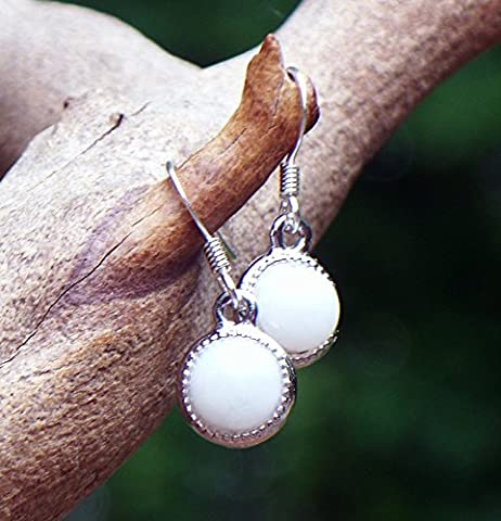 Recycled Vintage White Pond's Cold Cream Jar White Glass Color Dot Earrings (Ponds Hand Cream)