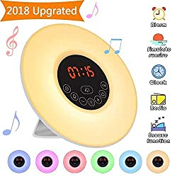 Elfeland Wake Up Light Alarm Clock Digital Sunrise LED 7 Changeable Colors 10 Levels Brightness, 6 Natural Sounds & FM Radio Sunset Simulation with Snooze Function Night Light