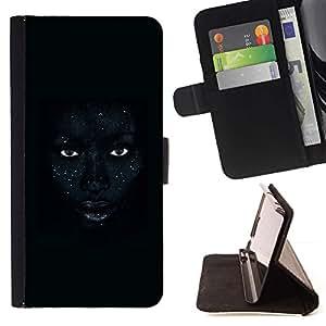 """Labios africanos Mujer Noche Ojos"""" Colorida Impresión Funda Cuero Monedero Caja Bolsa Cubierta Caja Piel Id Credit Card Slots Para HTC Desire 820"""
