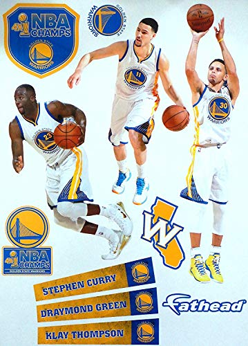 Player Wall Decal - FATHEAD Golden State Warriors Team Set 3 Players Warriors Logo Official NBA Vinyl Wall Graphics - Stephen Curry, Klay Thompson, Draymond Green, 17