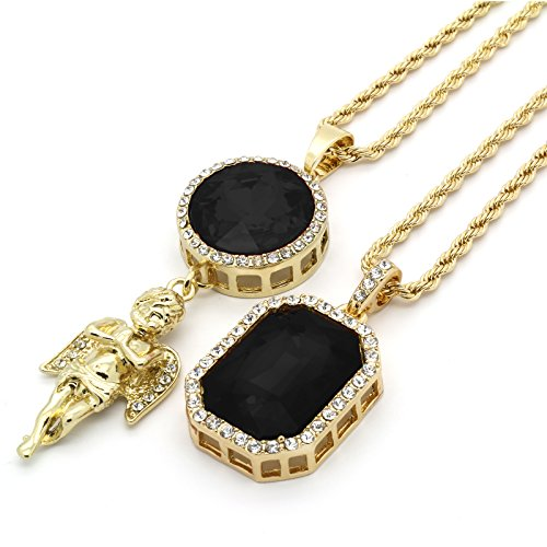 Mens 14k gold plated iced out black octagon ruby pendant with mens 14k gold plated iced out black octagon ruby pendant with 3mm 24 aloadofball Gallery