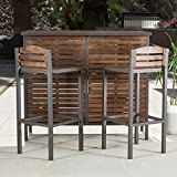 Modern, Rustic Milos Brown Outdoor Patio 3-piece Powder Coated Iron ,Acacia Wood Rectangular Bistro Bar Set