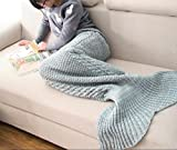 Casofu174; Green and Gray Mermaid Tail Blanket,Kids Thick Mermaid Tail Blanket Snuggle Mermaid