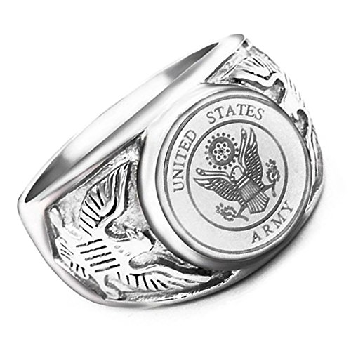 Ring Army Silver - JAJAFOOK Vintage Titanium Steel US Military Army Ring Eagle Medal Rings for Men, Silver/Gold/Black