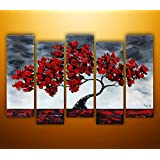 """Amazon Price History for:Ode-Rin Art - 100% Hand Painted Large Lush Maple 5 Pieces Wall Art Realism Red Tree Framed Oil Painting for Living Room Home Decor, Ready to Hang - (12""""x28"""" x 5 Panels)"""