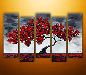 "Ode-Rin Art - 100% Hand Painted Large Lush Maple 5 Pieces Wall Art Realism Red Tree Framed Oil Painting for Living Room Home Decor, Ready to Hang - (12""x28"" x 5 Panels)"