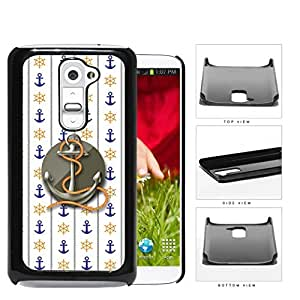 Blue Anchor & Orange Wheel Wallpaper with Grey Centered Anchor & Rope LG G2 Hard Snap on Plastic Cell Phone Case Cover