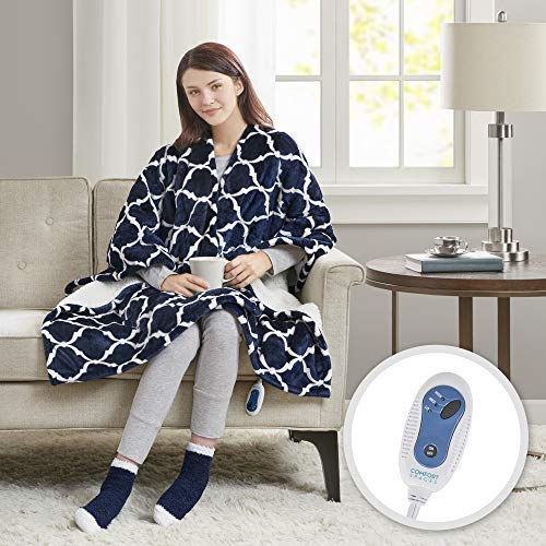 Comfort Spaces Plush to Sherpa 2 Piece Electric Wrap Blanket and Socks Set Ultra Soft Warm Reversible Heated Poncho Throw, Ogee, - Heated Warming Fleece Electric Throw