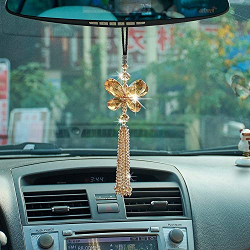 ATMOMO Crystal Butterfly Car Rear View Mirror Accessories Lucky Car Hanging Ornament (Champagne)