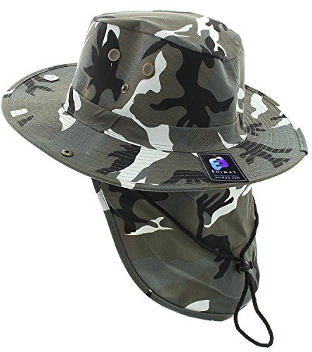 Enimay Outdoor Hiking Fishing Snap Brim Hat with Neck Flap City Camo X-Large