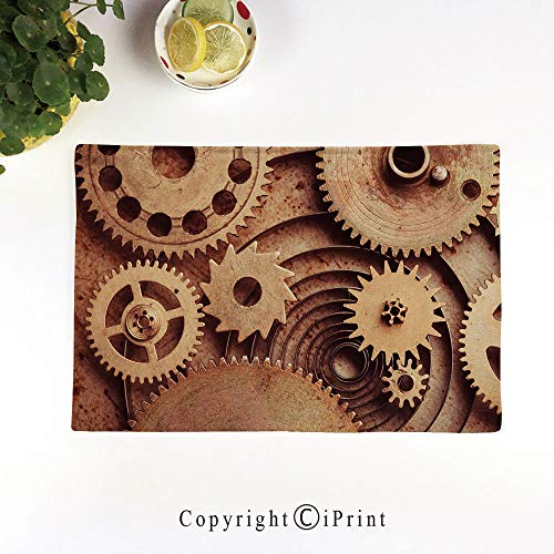 LIFEDZYLJH Linen Place Mats,Washable Fabric Placemats for Dining Room Kitchen Table Decor,Set of 4,Inside The Clocks Theme Gears Mechanical Copper Device Steampunk Style Print,Cinnamon
