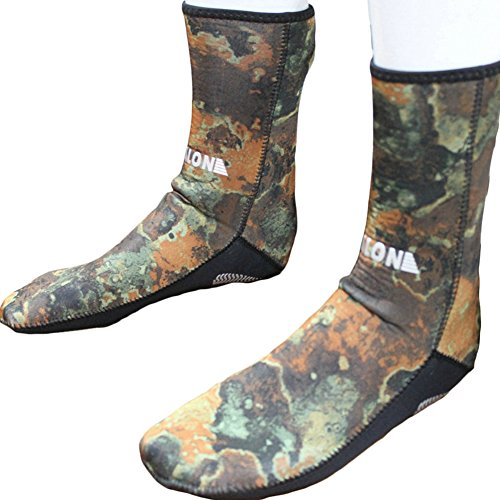 Realon Men Women Diving Socks 3MM Neoprene Camo Scuba Water Sports Swim Elastic Snorkeling Wetsuits Boots Dry Non-Slip Keep Warm Shoes Seaside Beach Surfing