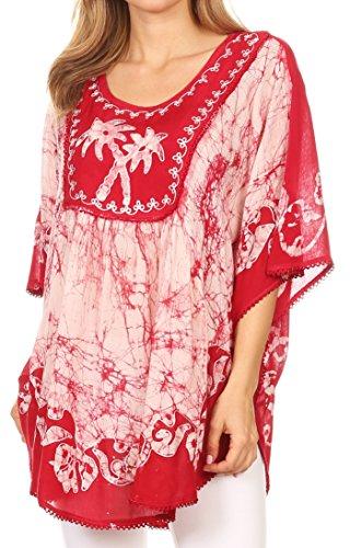 - Sakkas 17030 - Lynda Two Tone Batik Embroidered Palm Tree Peasant Top/Poncho - Red - OS