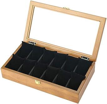 12 Grid Caja De Relojes Organizador, Madera Reloj Caja De Almacenamiento, Relojes Caja Vitrina, Tapa De Cristal, Exhibición De Relojes (Color : C): Amazon.es: Relojes